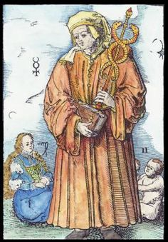 Mercury. Woodcut by The Master 4+ (c. 1554-1580). #alchemy