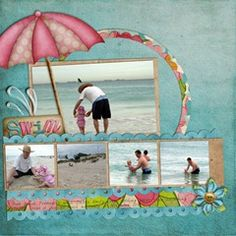 """""""Beach With Daddy"""" Scrapbooking Layout...Melissa's Blog - there are videos to show how to use a template for this page design."""