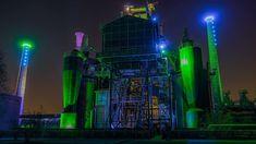 #architecture #building #business #crane #dark #dusk #electricity #energy #evening #factory #germany #gloomy #heavy industry #illuminated #industrial #industrial plant #industry #landmark #lapadu #lapano #lights #long