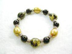 Black and Gold Stretch Bracelet 2