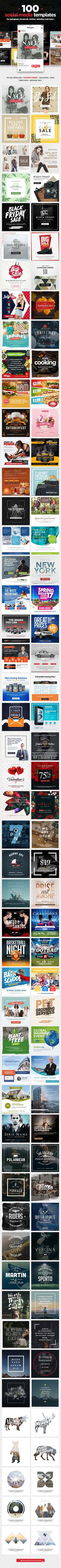 100 #Social Media #Templates - Social Media Web Elements Download here: https://graphicriver.net/item/100-social-media-templates/19475656?ref=alena994