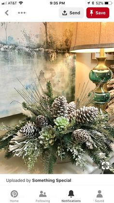 Holiday Succulent look great w/pine cones. Christmas Flower Arrangements, Holiday Centerpieces, Christmas Flowers, Christmas Tablescapes, Xmas Decorations, Floral Arrangements, Christmas Wreaths, Advent Wreaths, Centrepieces
