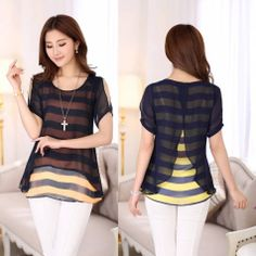 Women Chiffon strapless short-sleeved striped shirt  Swallowtail BLOUE Top L-4XL #oem #Blouse #Casual