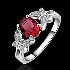 Anillo del rubí de plata 925 elegante para mujer 8#