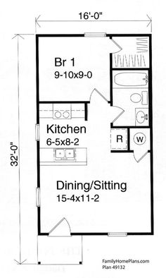 Tiny house floor plan 49132 by Family Home Plans The tiny house design of the Jordan family even includes a charming small front porch. Come and see how tiny house floor plans can be maximized for peaceful living. Small House Floor Plans, Cabin Floor Plans, Family House Plans, The Plan, How To Plan, 1 Bedroom House, House Bath, Apartment Floor Plans, Shed Homes