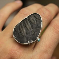Fresh off the bench. Ferny fossil ring. Sterling silver turquoise Handmade by Ashley Weber Against The Grain www.ashleyweber.com