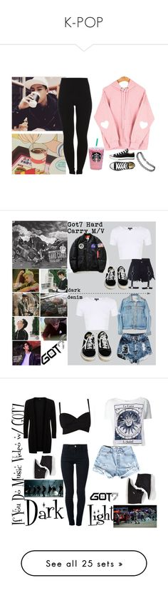 """K-POP"" by llavenderdreams77 ❤ liked on Polyvore featuring Coffee Shop, Pieces, Converse, kpop, Jooheon, monstax, LeeJooheon, Vans, Topshop and GOT7"
