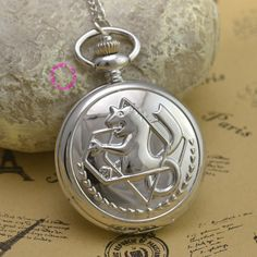 6804470d8 Fullmetal Alchemist Pocket Watch necklace women Cosplay Edward Elric with  Chain Anime Boys Gift New Silver Tone lady fob watches