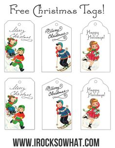 Free Christmas gift tag printables! Vintage 1950's Christmas - www.irocksowhat.com