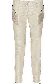 Pierre Balmain Distressed faux leather skinny jeans | THE OUTNET