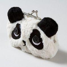Absolutely adorable Fuzzy Panda Coin Purse with button eyes!
