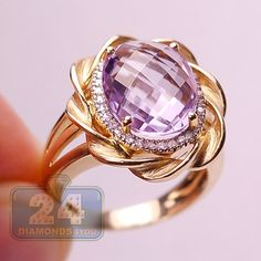 Womens 4.73 Carat Purple Amethyst Diamond Halo Womens Cocktail Rope Ring 14K Yellow Gold