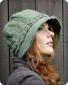 Forest Cloche Hat - Moss and Fern. $75.00, via Etsy.