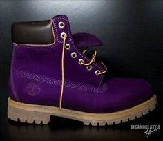 Timberland's in Dark Purple Purple Love, All Things Purple, Shades Of Purple, Purple Stuff, Deep Purple, Purple Timberland Boots, Purple Boots, Custom Timberland Boots, Purple Fashion