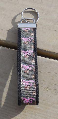 Ribbon Key Fob Pink Browning Wristlet by GabbysQuiltsNSupply