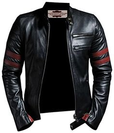 Black and Red Faux Leather Jacket