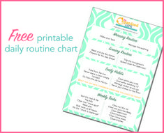 Free printable daily routine chart