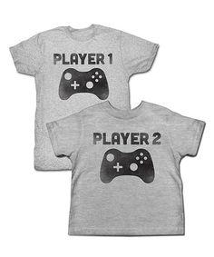 Gray Heather 'Player 1 & Player 2' Tee Set - Toddler & Men's