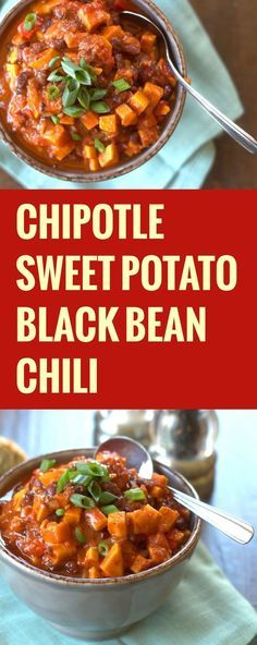 Smoky chipotle peppers, savory black beans, tender sweet potatoes, and loads of spices go into this incredibly flavorful vegan sweet potato chili.