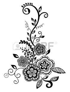 Elemento floral hermoso. Negro y blanco flores y hojas de elementos de diseño con bordados imitación guipur. Foto de archivo
