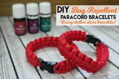 Round up a few simple supplies and make these DIY Bug Repellent Paracord Bracelets to keep the bugs at bay this summer! Great for kids! Diy Mosquito Repellent, Mosquito Repellent Bracelet, Insect Repellent, Paracord Bracelets, Bugs, Pest Control, Weed Spray, Essential Oils, Diy Projects