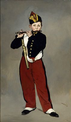 Manet:  Le fifre [the Piper], 1866. 'Nothing quite prepares one for the jolt of seeing that lifesize figure arriving out of thin grey air,' says Laura Cumming. Leon Leenhoff was the model for this famous portrait. Manet eventually married his mother and may even have been his father, although it has also been suggested that the real parent was Manet's father