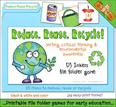 Help kids learn all about the 3 R's: 'Reduce, Reuse, Recycle' with this fun activity! Teaches sorting skills, critical thinking & environmental awareness.    Go to product: http://www.djinkers.com/3Rs_filegame.html