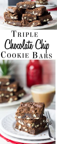 Triple Chocolate Chip Bars - Erren's Kitchen - This recipe is filled with white, milk and dark chocolate chips. They are the perfect mix between a cookie and a brownie - crisp on the outside, and soft & chewy on the inside. These bars are any chocolate lover's dream!