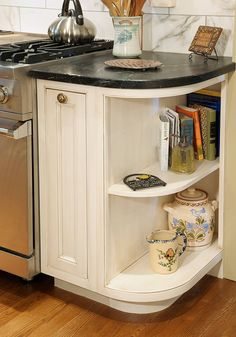 I always love this look. Cook books, and priority items.