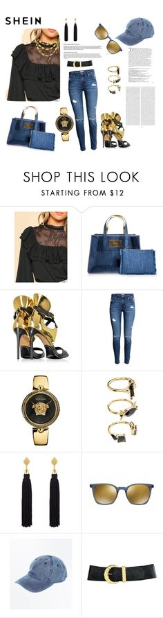 """""""denim,black and gold"""" by agnesmakoni ❤ liked on Polyvore featuring Charlotte Olympia, Balmain, Versace, Gurhan, Noir Jewelry, Henri Bendel, Oliver Peoples, Anne Klein and Oris"""