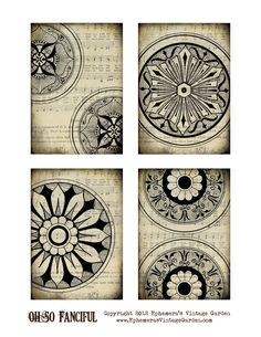 """Here is a printable set of 3.5 x 5"""" tags/cards. They can be used in a variety of projects. I'm a big fan of old world medallion/rosette de..."""