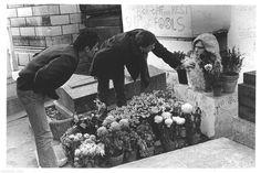 Jim Morrison's grave in Père Lachaise cemetery, Paris  December 1983 © marcovdz
