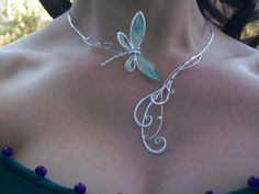 Dragonfly Tales Torc / Neckpiece art nouveau style with a lovely blue plique a jour resin enameled dragonfly