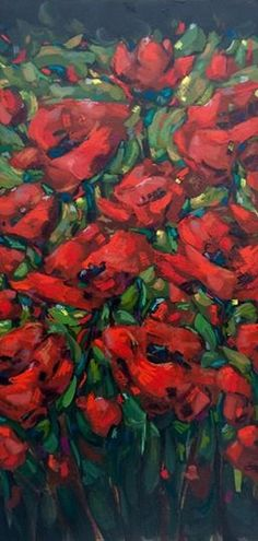 www.jillvansickle.com, painting, fine art, original art ©jill van sickle, floral, red, poppies