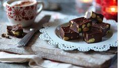 Nigella Lawson's Chocolate pistachio fudge recipe – BBC Food - Christmas Cake Recipe Chocolate Thermomix, Chocolate Recipes, Chocolate Fudge, Chocolate Cookies, Pistachio Fudge Recipe, Toffee Recipe, Oh Fudge, Butter Toffee, Almond Butter