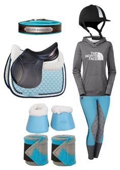"""""""Horseback riding sets: blue and grey"""" by walk-trot-canter ❤ liked on Polyvore featuring The North Face"""