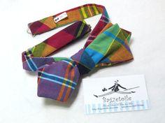Bow Tie diamond point plaid / self tie freestyle by bagzetoile