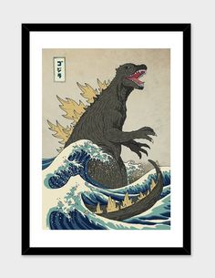 """""""The Great Godzilla Off Kanagawa"""", Numbered Edition Fine Art Print by Michael Buxton - From $25.00 - Curioos"""