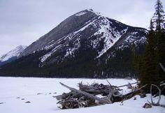 Mount Indefatigable across Lower Kananaskis Lake from William Watson Lodge in Kananaskis Country, Alberta, Canada.