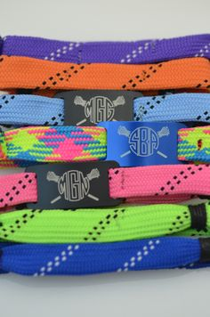 How awesome is this monogrammed bracelet? It's custom made just for you, you can choose from over 15 colors, and it's made from real lax shooting string! Sounds like it would make a super cool girls lacrosse gift too! #monogram #lacrosse
