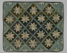 Hooked Rug  Place Made:	North America: Canada, Central Canada, Ontario  Period:	Early 20th century  Date:	c 1900  Dimensions:	L 97 cm x W 80 cm  Materials:	Hemp; cotton  Techniques:	Hooked  No wool used in this rug and it is beautiful, nice binding.  Textile Museum of Canada