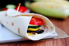 Grilled Garden wrap (philadelphia cheese, grilled eggplant, grilled squash, grilled corn, fresh cucumber and tomato) YUM
