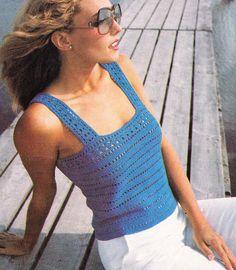 Vintage Crochet Woman's 1989 Camisole Tank Top PDF Pattern