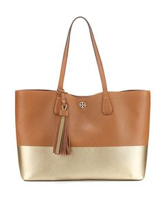 Perry+Colorblock+Leather+Tote+Bag,+Bark/Gold+by+Tory+Burch+at+Neiman+Marcus.
