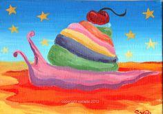 Psychedelic ice cream cupcake snail surreal fantasy by ArtBySarada, $40.00