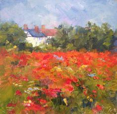 """""""Poppy Field, 10x10, oil on museum quality board, .  www.carolhopper.com"""
