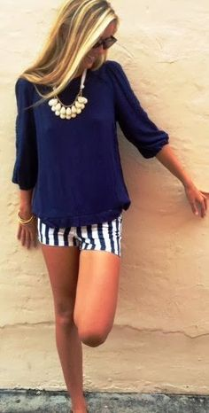 Blue Chiffon Blouse and Stripes Shorts