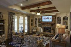 Regency Homebuilders : Hearth Room, Cedar Beams, Open Concept Living, Rustic Chic, Scraped Hardwood, Tray Ceiling, Stone Fireplace, Built-In Shelving (Rolling Meadows - Willingham Plan)