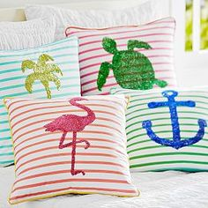 Sea Breeze Stripe Pillow Cover love the palm tree or anchor coolest pillows ever from pottery barn teen! Bright Pillows, Accent Pillows, Bed Pillows, Decor Pillows, Cushions, Teen Bedding, Teen Bedroom, Bedroom Ideas, Coastal Bedrooms