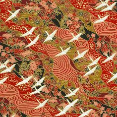 Chiyogami - Traditional Patterns on Red